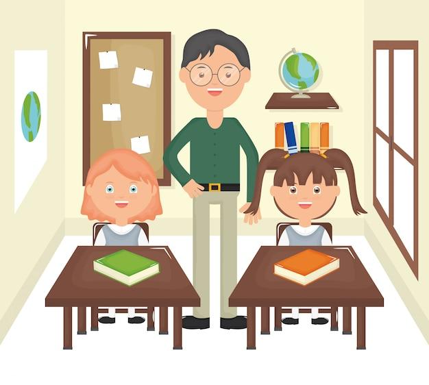 Joven maestro masculino con alumnos en el aula.