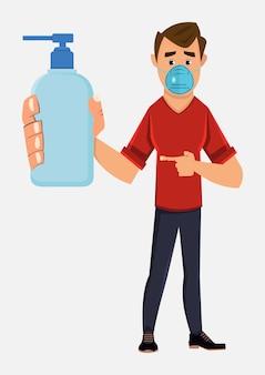 Joven con mascarilla y mostrando la botella de gel de alcohol. ilustración de concepto de covid-19 o coronavirus