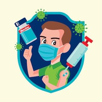 Joven con mascarilla recibe la vacuna covid19 para protegerse del virus