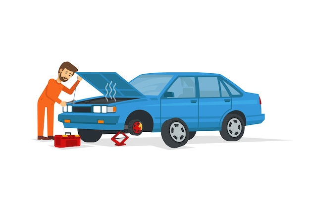 Joven mecánico arregle el coche azul y abra la capucha
