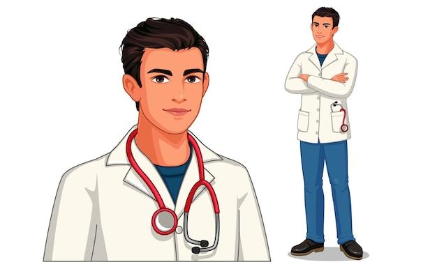 Joven médico con estetoscopio y delantal en posición de pie ilustración 1