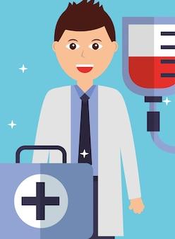 Joven médico con kit de primeros auxilios y bolsa de sangre.