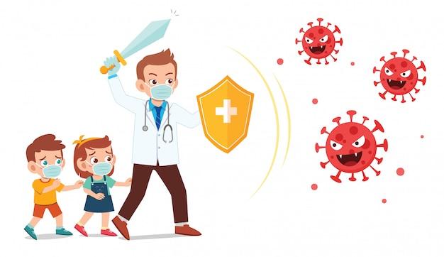 Joven médico lucha con el virus corona protege al niño