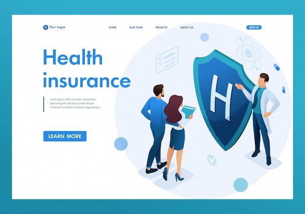 Joven médico ofrece seguro de salud a la pareja. concepto de seguro de salud. isométrica 3d conceptos de página de aterrizaje y diseño web