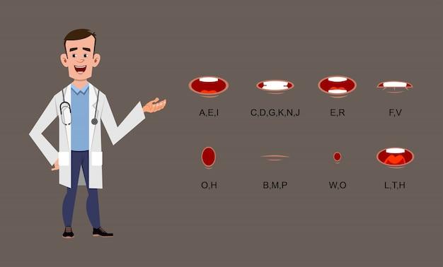 Joven médico personaje de dibujos animados con diferente sincronización de labios, movimiento o animación