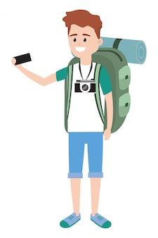 Joven mochilero turista
