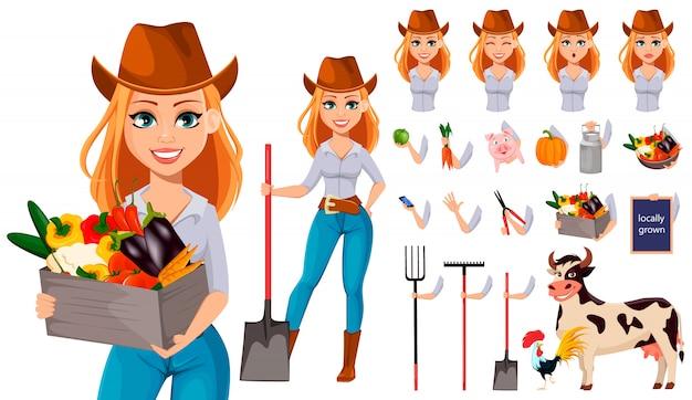 Joven mujer bonita agricultor con sombrero de vaquero