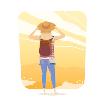 Joven mujer caminando sola por un sendero de montaña. chica mira una puesta de sol. viaje de aventura. vacaciones de verano. alrededor del mundo. estilo de dibujos animados ilustración.
