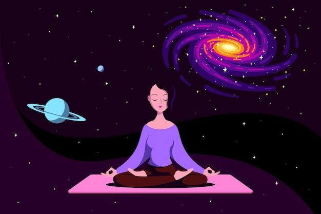 Joven mujer caucásica sentada en postura de loto con espacio exterior alrededor. práctica de yoga y meditación. ilustración de estilo plano