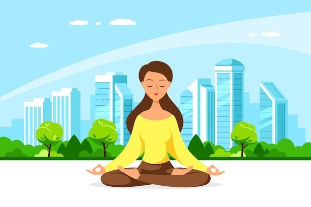 Joven mujer caucásica sentada en postura de loto con gran ciudad. práctica de yoga y meditación, recreación, estilo de vida saludable. ilustración de estilo plano