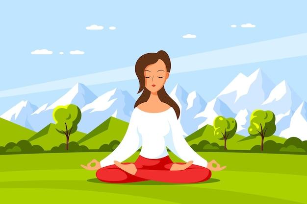 Joven mujer caucásica sentada en postura de loto con hermoso paisaje de montaña. práctica de yoga y meditación, recreación, estilo de vida saludable. ilustración de estilo plano