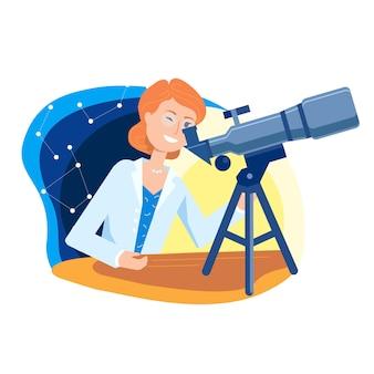 Joven mujer científica, mirando las estrellas en un telescopio
