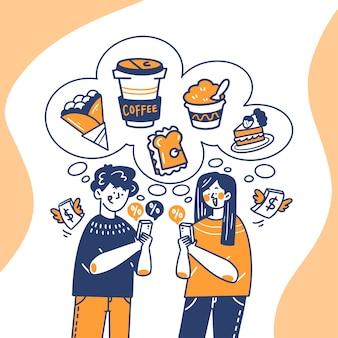 Joven y mujer comprando bocadillos en línea doodle ilustración