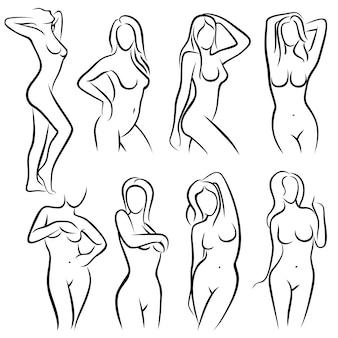 Joven mujer cuerpo contorno siluetas belleza logos