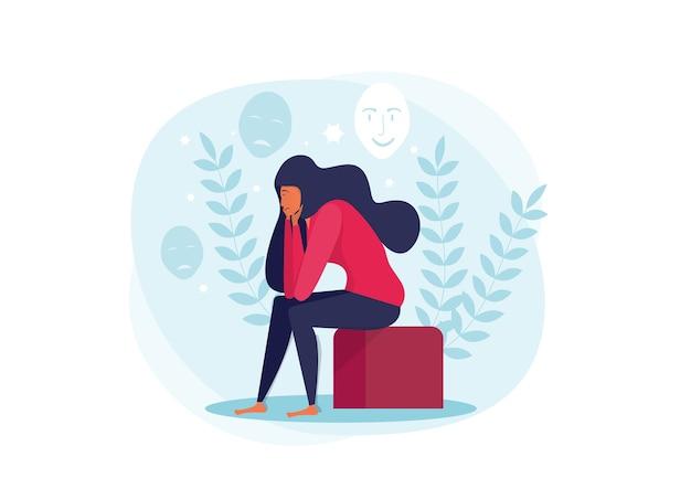 Joven mujer deprimida sentada en el sofá y sosteniendo el concepto de cara