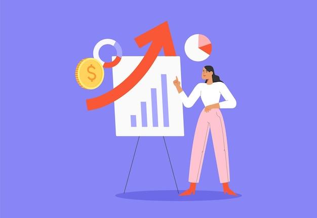 Una joven mujer exitosa está analizando negocios de ventas