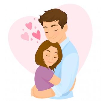 Joven mujer y hombre enamorado, abrazando