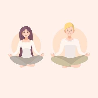 Joven mujer y hombre pareja meditando con las piernas cruzadas. relajación, ilustración de personas aisladas.
