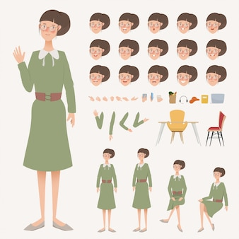 Joven mujer de negocios animación de carácter diferente pose.