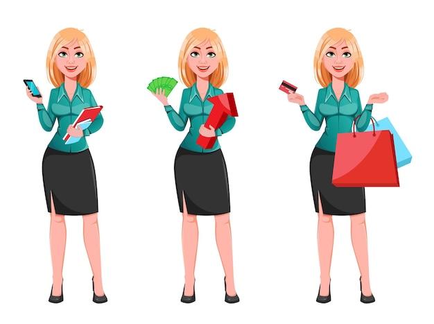 Joven mujer de negocios exitosa, conjunto de tres poses