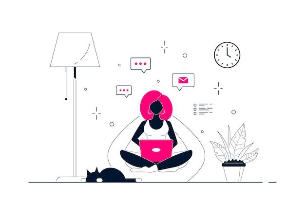 Joven mujer negra en casa sentado en una bolsa de silla y trabajando en equipo. trabajo remoto, oficina en casa, concepto de autoaislamiento. ilustración de arte de línea de estilo plano.