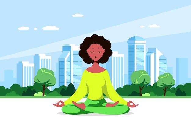 Joven mujer negra sentada en postura de loto con gran ciudad. práctica de yoga y meditación, recreación, estilo de vida saludable. ilustración de estilo plano