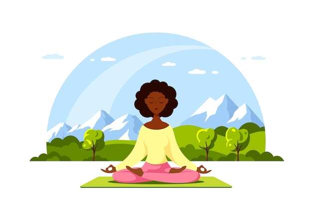 Joven mujer negra sentada en postura de loto con hermoso paisaje de montaña. práctica de yoga y meditación. ilustración de estilo plano aislado