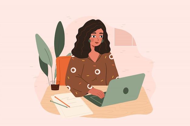 Joven mujer vintage trabajando en el escritorio con una computadora portátil delante de ella. concepto de bloque de escritor, blogger de belleza, crisis de creatividad, problema de inicio de trabajo. dibujo vectorial plano.
