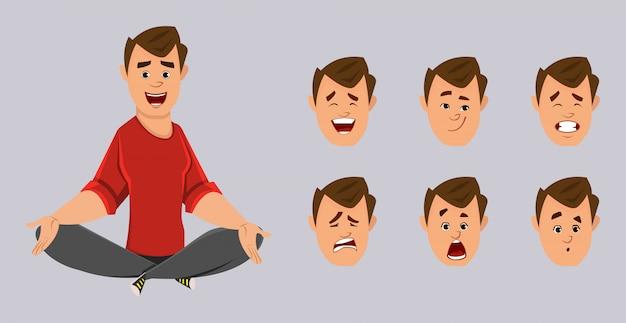 Joven oficinista haciendo yoga o relajarse meditación. personaje de oficinista con diferente tipo de expresión facial