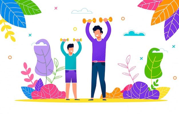 Joven padre e hijo juegan deportes al aire libre en el paquete