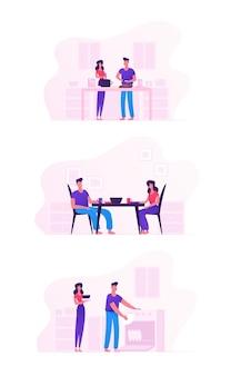 Joven pareja amorosa cocinando juntos en el juego de cocina