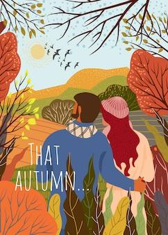 Joven pareja cumple nuevo día de otoño