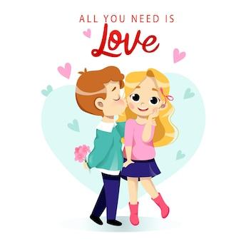 Joven pareja de dibujos animados se besa románticamente, abrazándose.