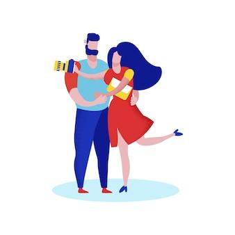 Joven pareja feliz viajeros romántico viaje, amor