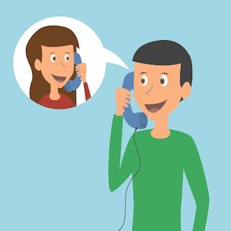Joven pareja hablando por teléfono. ilustración vectorial,