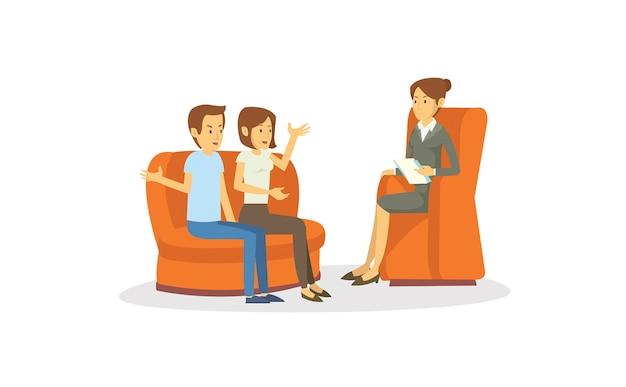 Una joven pareja haciendo psiquiatría consulta