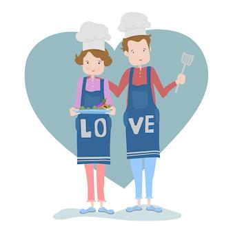 Joven pareja hobby cocina
