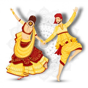 Joven pareja personaje bailando garba plantean sobre fondo floral mandala blanco.