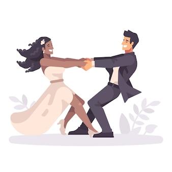 Joven pareja romántica cogidos de la mano y dando vueltas