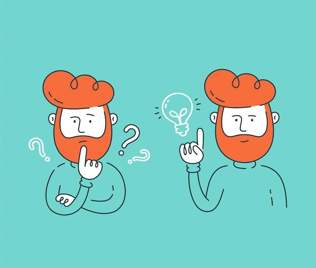 Joven pensando de pie bajo signos de interrogación y tener buena idea creativa