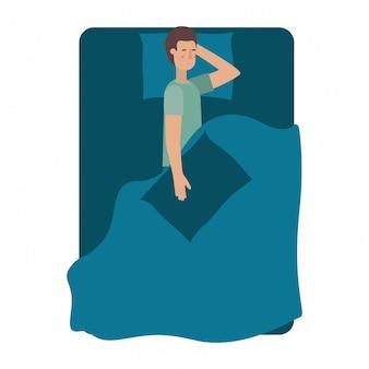Joven en personaje de avatar de cama