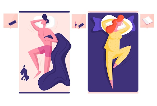 Joven personaje masculino y femenino durmiendo en camas separadas