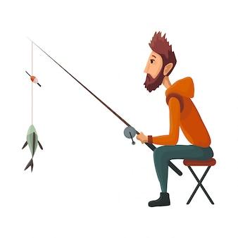 El joven pescador sentado con caña de pescado saca el pescado capturado. pescado atrapado pesca exitosa