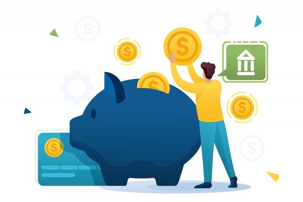Joven pone dinero en un depósito bancario, invirtiendo fondos. personaje plano. concepto para diseño web