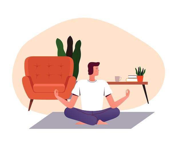 Joven practica yoga en casa sobre la alfombra