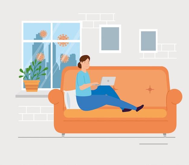 Joven quedarse en casa usando laptop