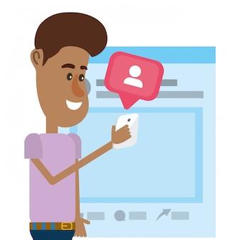 Joven y redes sociales.