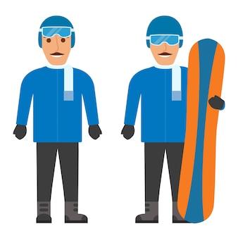 El joven en ropa deportiva de invierno, con casco con puntas y bufanda. guantes y botas de snowboard.