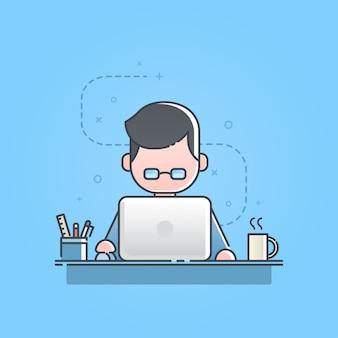 Joven sentado y trabajando en la computadora portátil