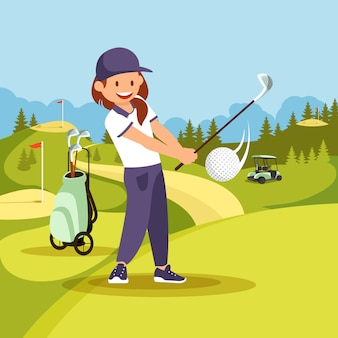 Joven sonriente en uniforme de deporte jugando al golf.